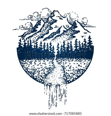 mountain vintage emblem fir