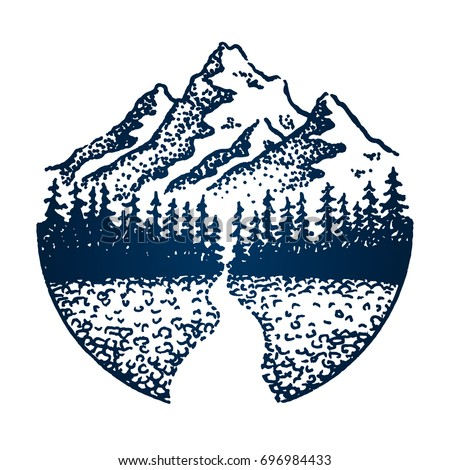 Mountain vintage emblem. Fir forest, trees, snake road or river. Outdoor activity travel, tourism. Hand drawn engraved illustration for poster, card design. Vector concept isolated on white background
