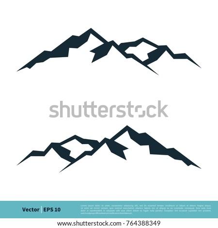 Mountain, Volcano, Summit, Peak Icon Vector Logo Template