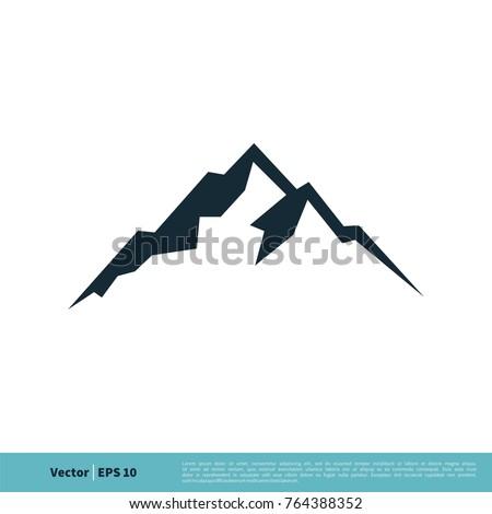 Mountain, Volcano, Summit, Peak Icon Vector Logo Template Illustration Design. Vector EPS 10. ストックフォト ©