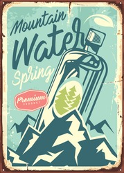 Mountain water sign design with bottle in the middle of picture, blue background, and mountains. Vector retro image.