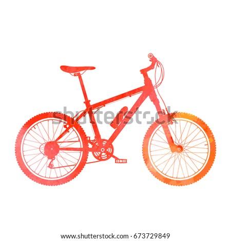 Mountain watercolor silhouette. Mountain bike icon.
