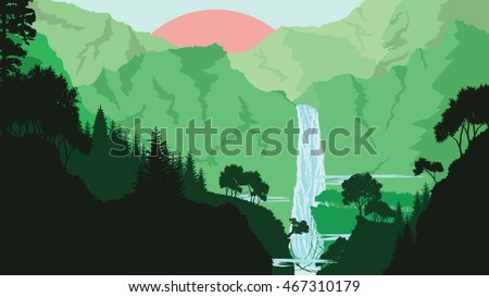 mountain waterfall and forest