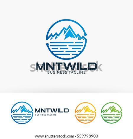 mountain wild  symbol  blue