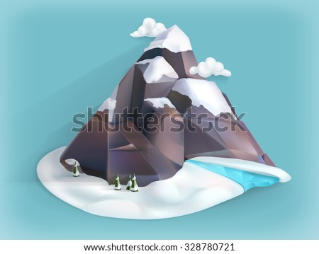 mountain winter  low poly style