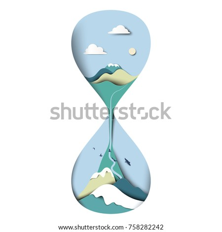 Mountain with blue sky landscape in sand houseglass/clock, paper art/paper cutting style