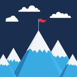 Mountain with flag on top, business success metaphor, illustration vector