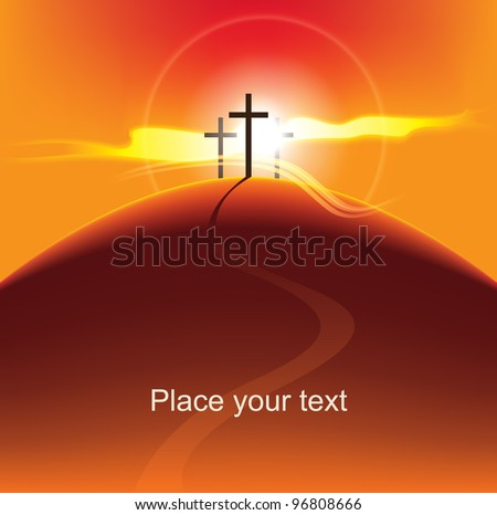 mountain with three crosses at