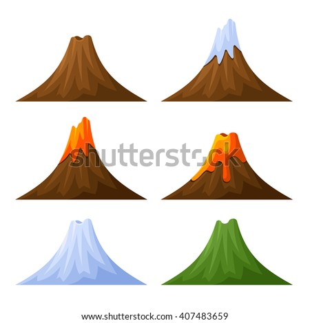 mountain with volcano  forest