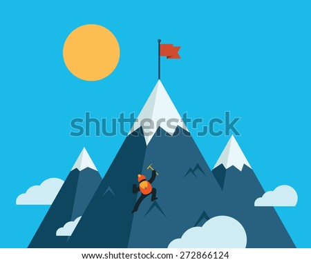 Mountaineer climb a snow mountain. Vector icon.