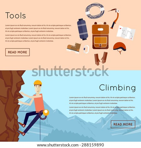 Mountaineer. Mountain climbing. Rock climber. Extreme sport. 2 banners. Flat style vector illustration.