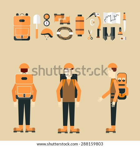 Mountaineer. Mountain climbing. Rock climber. Extreme sport. Icons set. Flat style vector illustration.