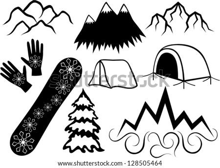 winter sports icon set download free vector art stock graphics Dog Patrol mountaineering and tourism abstract vector set