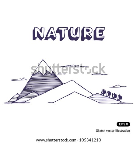 Mountaineering. Hand drawn sketch illustration isolated on white background