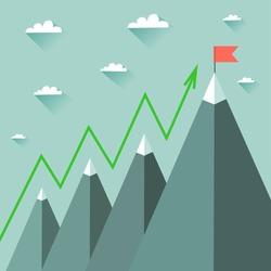 Mountaineering Route. Goal Achievement or Success Concept. Mountains with snow and red flag on the top, sky and clouds on background. Vector colorful illustration in flat style