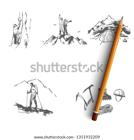 Mountaineering - sportsmen climbing mountains, camping and special equipment vector concept set. Hand drawn sketch isolated illustration