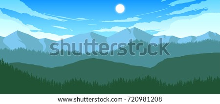 mountains and hills landscape illustration in day time