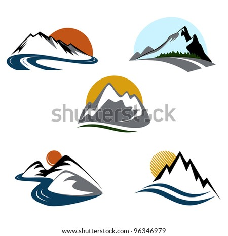 Mountains and landscape emblems set