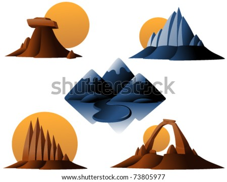 mountains and monuments vector