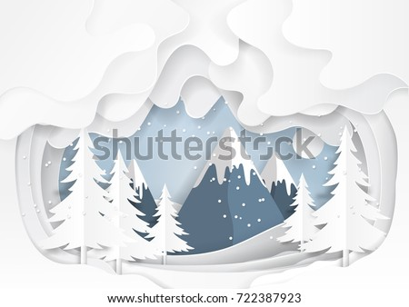 Mountains and nature landscape on snow winter background.For merry Christmas and happy new year paper art style.Vector illustration.