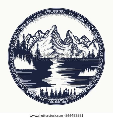 Mountains and river landscape tattoo. Symbol tourism, travel, adventure. Mountain landscape t-shirt design