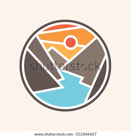 mountains and river vector icon