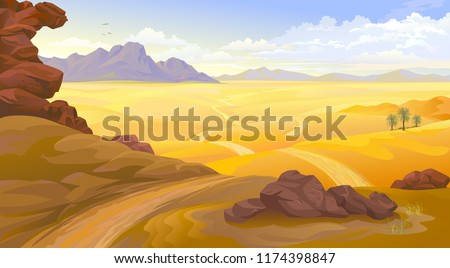 mountains and rocks on a desert