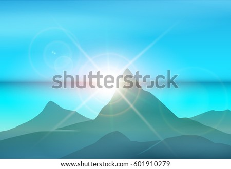 mountains and sea at sunrise