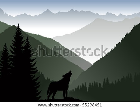 mountains and wolf