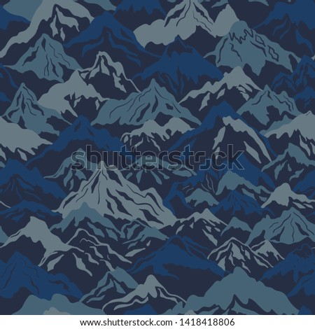 Mountains camouflage vector seamless pattern in blue color. Perfect for fabrics and wallpapers Stock photo ©
