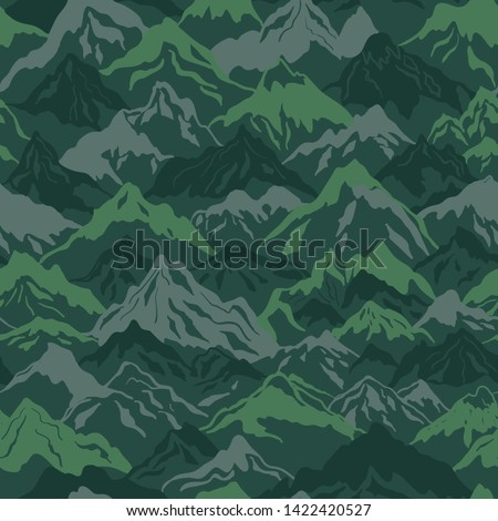 Mountains camouflage vector seamless pattern in green color. Perfect for fabrics and wallpapers Stock photo ©