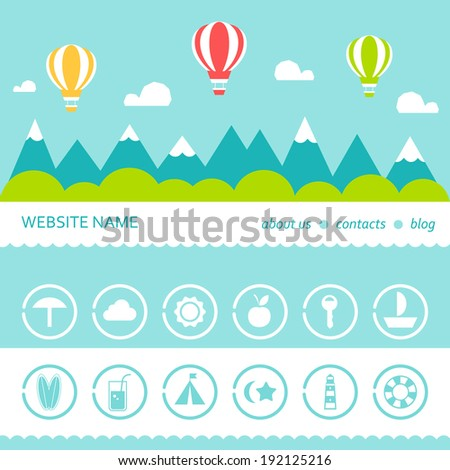 Mountains Clouds Hot Air Balloons Landscape Responsive Design Template and Icons Set