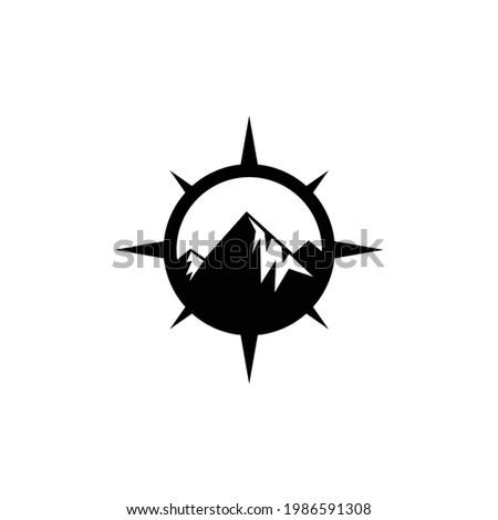 mountains compass explore expedition adventure logo design vector Stock photo ©