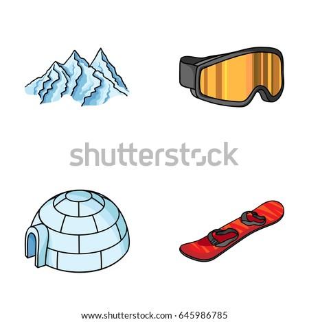 mountains  goggles  an igloo  a