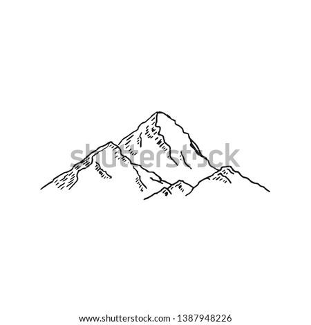 Mountains. Hand drawn rocky peaks. Vector illustration - Vector illustration