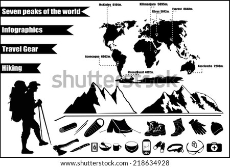 mountains hiking infographics