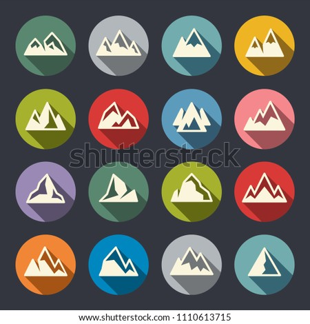 Mountains icon set