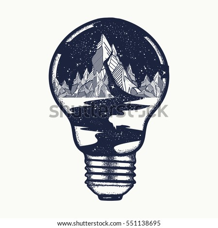 Mountains in a light bulb, tattoo. Symbol of a travel, tourism. River of stars flows from the mountains t-shirt design. Endless universe