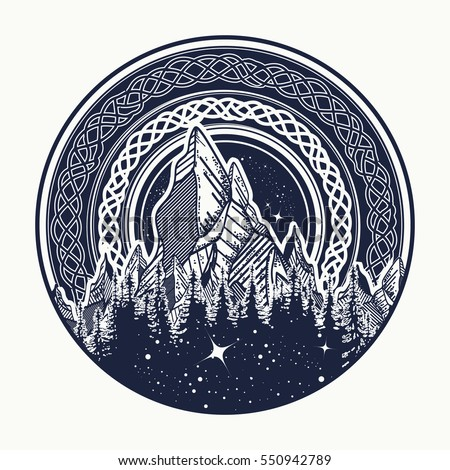 Mountains in the circle tattoo, celtic style. Great outdoors. Symbol of adventure tourism, meditation tribal vector illustration