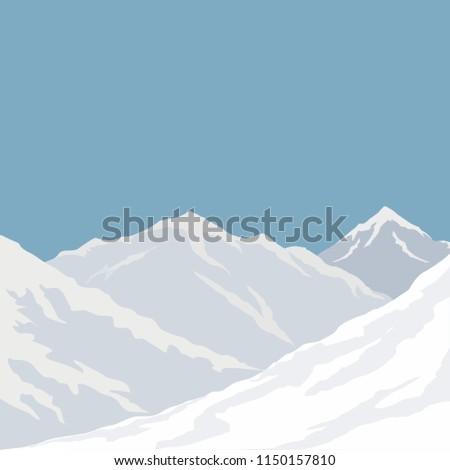 Mountains landscape  background  vector.