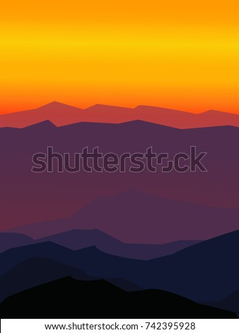 mountains landscape flat vector
