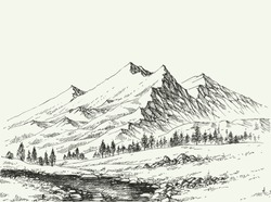 Mountains landscape sketch. River flow and alpine vegetation hand drawing