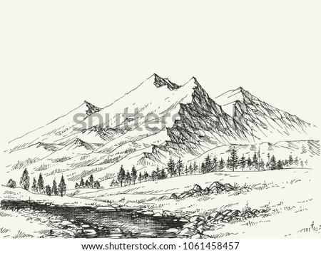 mountains landscape sketch....