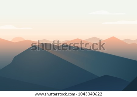 mountains landscape sunset