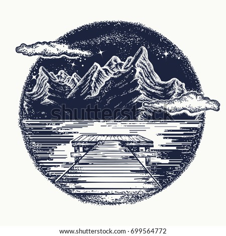 mountains landscape tattoo and