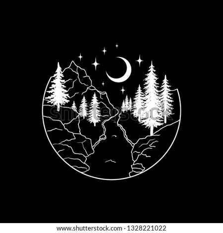 9210630176a7c Mountains landscape with forest, moon and stars. Hand drawn vintage vector  Dotwork Illustration.