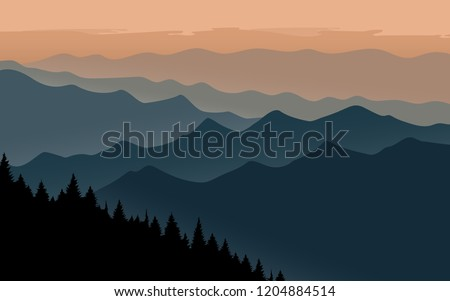 mountains landscape with orange