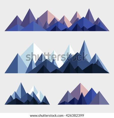 Mountains low poly style set. Polygonal mountain ridges.