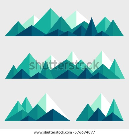 mountains low poly style set....