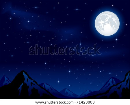 Mountains on the Moon background - stock vector